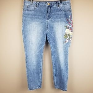 Jennifer Lopez Skinny Ankle Embroidered Jeans